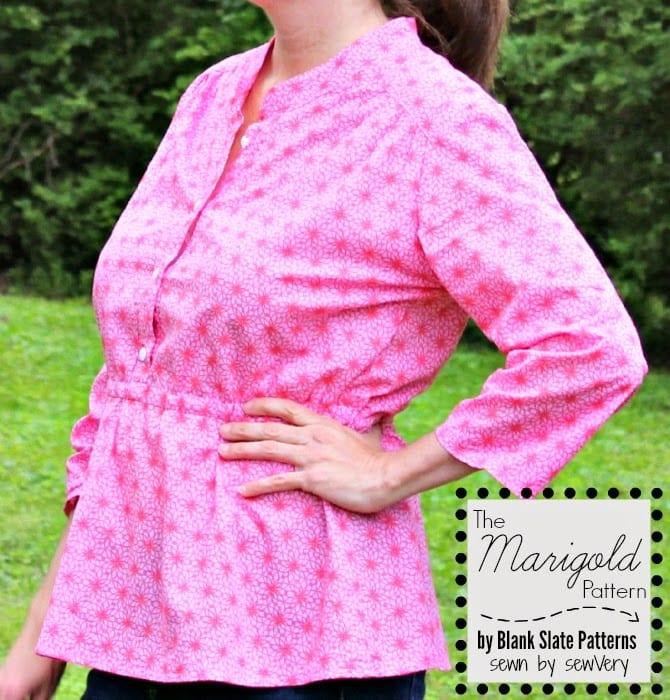 Marigold Peplum pattern by Blank Slate Patterns, sewn by sewVery