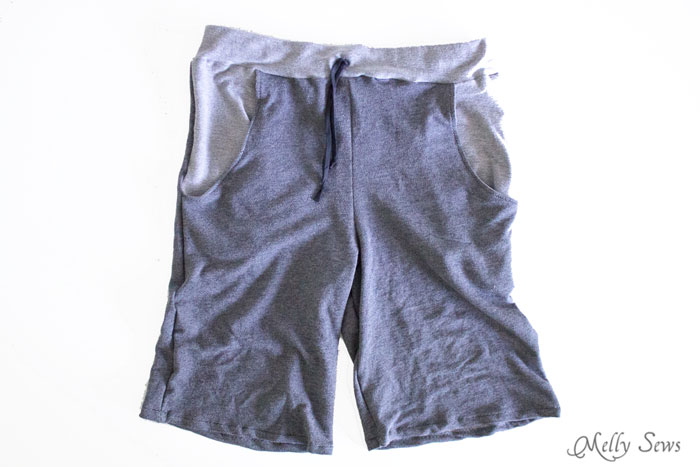 Much easier than you'd think - Sew Mens Shorts Tutorial - with drawstring and pockets - Melly Sews