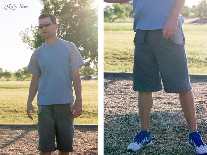 Perfect for the Park - Sew Mens Shorts Tutorial - with drawstring and pockets - Melly Sews