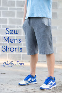 Sew Mens Shorts Tutorial - with drawstring and pockets - Melly Sews