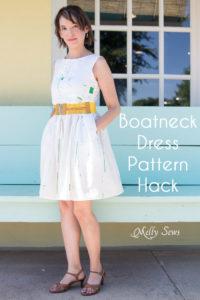 Make a boatneck sundress with this pattern hack - 30 Days of Sundresses - Melly Sews - bateau neck dress - ballet neckline dress