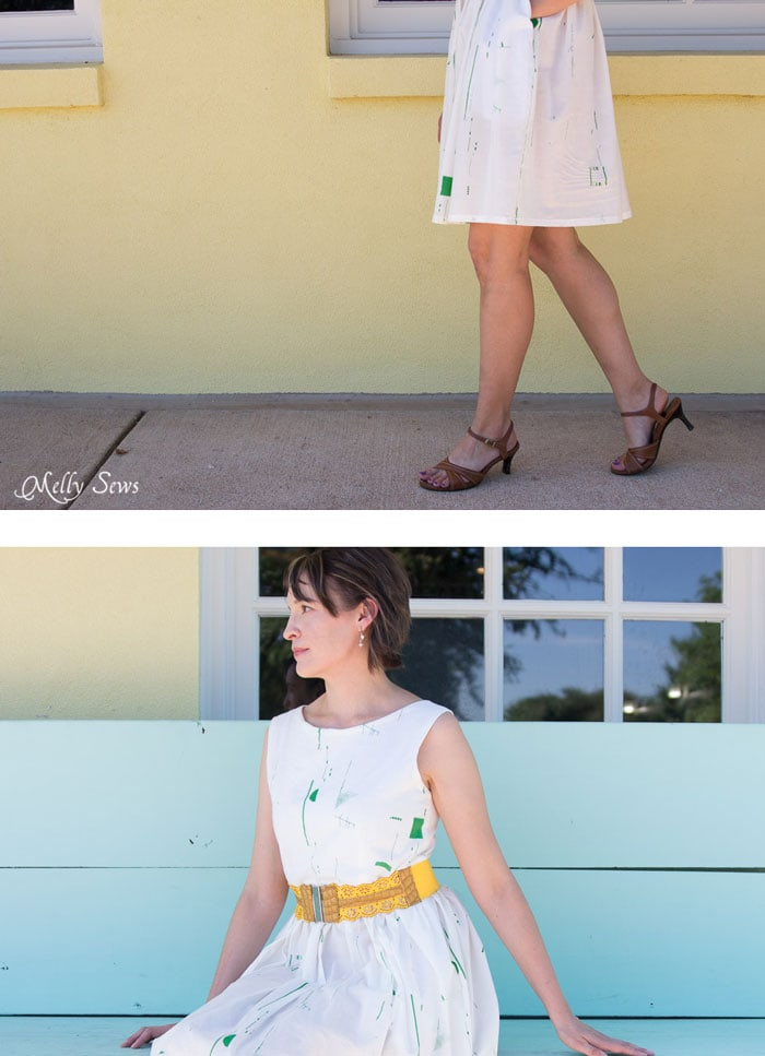 So pretty! Make a boatneck sundress with this pattern hack - 30 Days of Sundresses - Melly Sews - bateau neck dress - ballet neckline dress