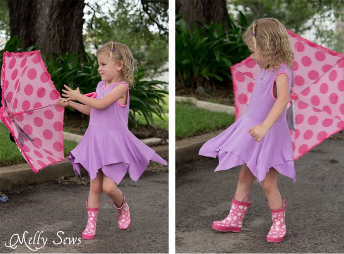 Twirling! Handkerchief Hem Dress tutorial - Sew a knit girls dress with this free pattern - Melly Sews