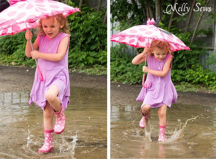 Rainboots and a dress - Handkerchief Hem Dress tutorial - Sew a knit girls dress with this free pattern - Melly Sews