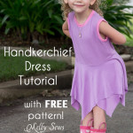 Handkerchief Hem Dress tutorial - Sew a knit girls dress with this free pattern - Melly Sews