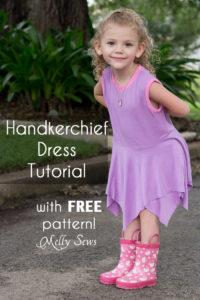 Handkerchief Hem Dress tutorial - Sew a knit girls dress with this free pattern - Melly Sews