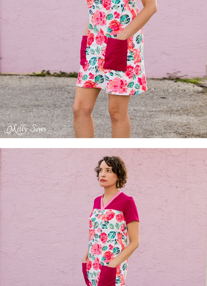 Contrast yoke, neckband and pockets - Juniper Jersey turned Dress - Sewing pattern by Blank Slate Patterns - 30 Days of Sundresses - Melly Sews