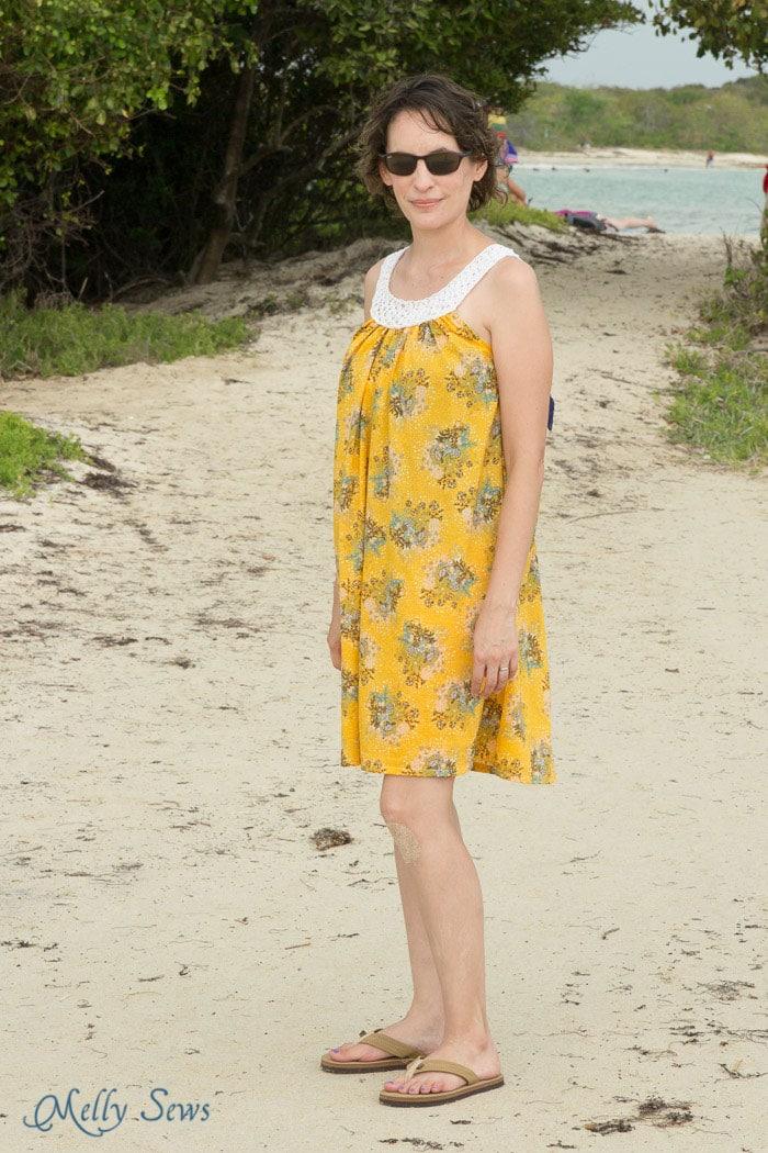 Love the voile! Knit Yoke Sundress with free knitting pattern - Sew a pillowcase dress and add a knit yoke - Melly Sews