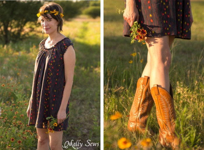 Love this! Boots and a dress are so cute for summer - Sew a Peasant Dress - Boho Baby Doll Dress for Women - Free pattern and tutorial from Melly Sews