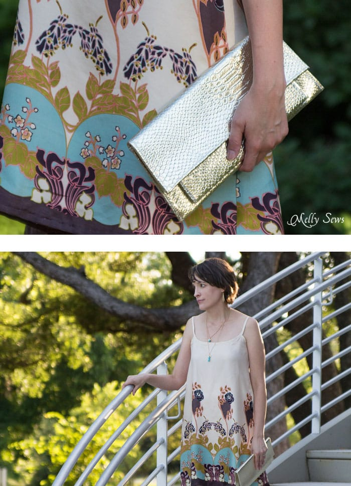 Gold clutch and slip dress - Summer Slip Dress Tutorial - Sewing Pattern by Melly Sews