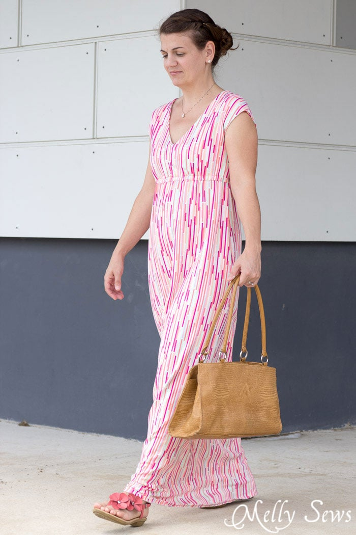 Knit Maxi Dress Pattern : Empire Waist Maxi Dress Tutorial - with Free Pattern - Melly Sews