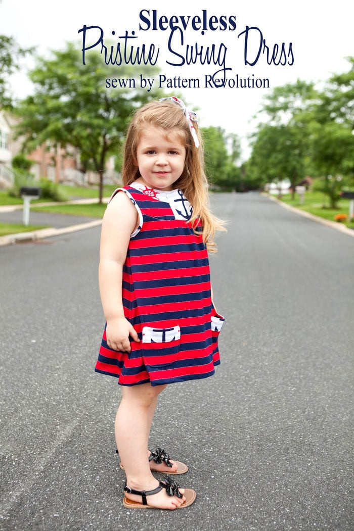 Patriotic Dress - Make this 4th of July perfect dress with the Pristine Swing Dress pattern by Blank Slate Patterns sewn by Pattern Revolution