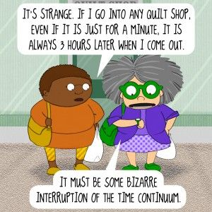 Mrs Bobbins goes fabric shopping - More sewing humor on Melly Sews