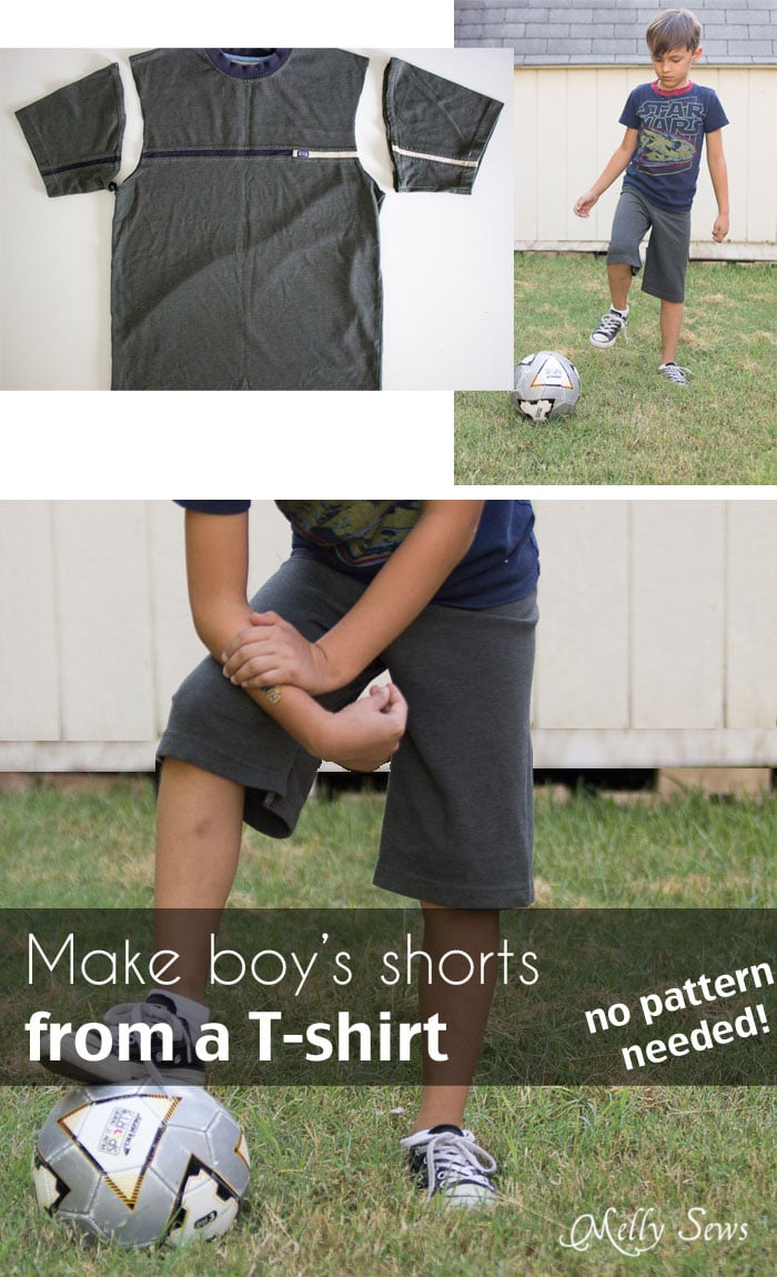 How to make shorts from a t-shirt - including how to sew a drawstring elastic waist - Melly Sews