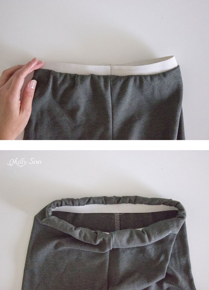 Step 2 - How to make shorts from a t-shirt - including how to sew a drawstring elastic waist - Melly Sews