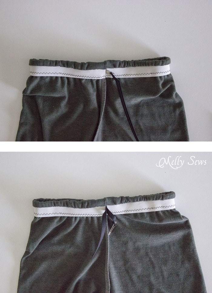 Step 3 - How to make shorts from a t-shirt - including how to sew a drawstring elastic waist - Melly Sews