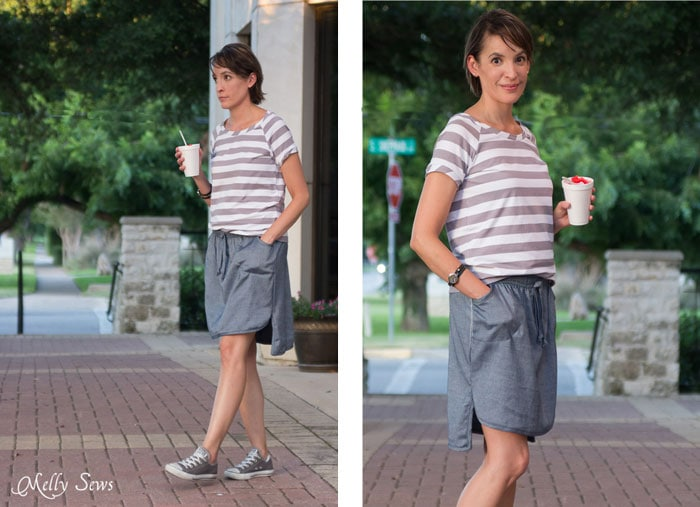 Casual summer dressing - Chambray High Low Skirt Tutorial - Melly Sews