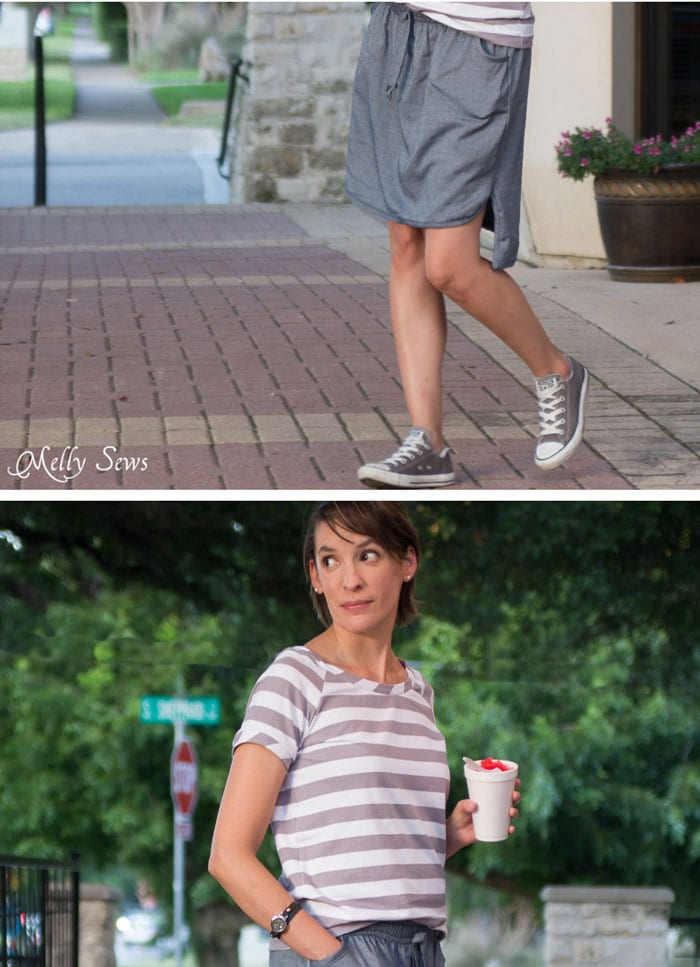Hemline detail and gray striped t shirt - Chambray High Low Skirt Tutorial - Melly Sews