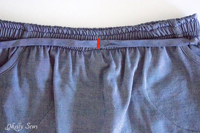 Faux Drawstring Detail - Chambray High Low Skirt Tutorial - Melly Sews