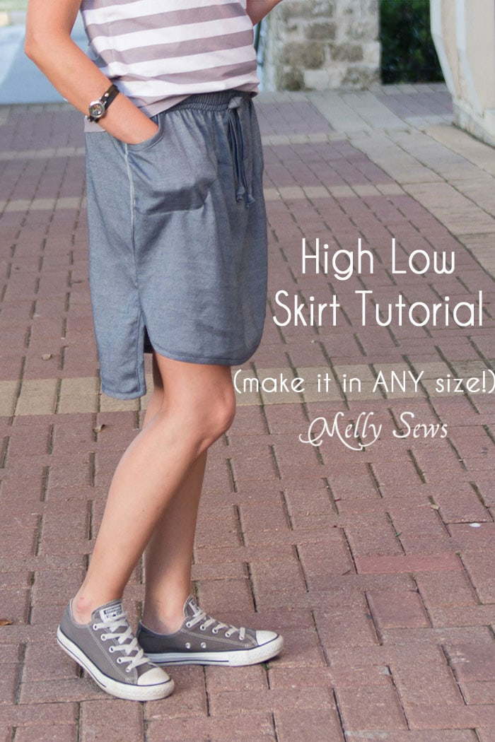 Chambray High Low Skirt Tutorial - Melly Sews