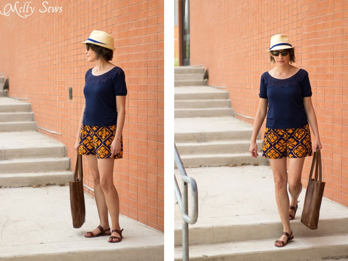 Casual and comfy - Sew Women's Shorts with this FREE pattern and tutorial - Graphic Print Shorts by Melly Sews