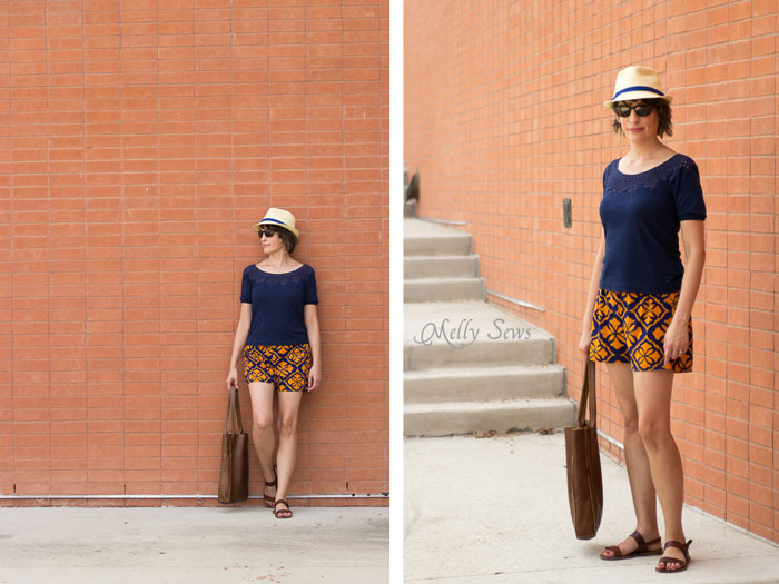 Easy summer fashion - Sew Women's Shorts with this FREE pattern and tutorial - Graphic Print Shorts by Melly Sews