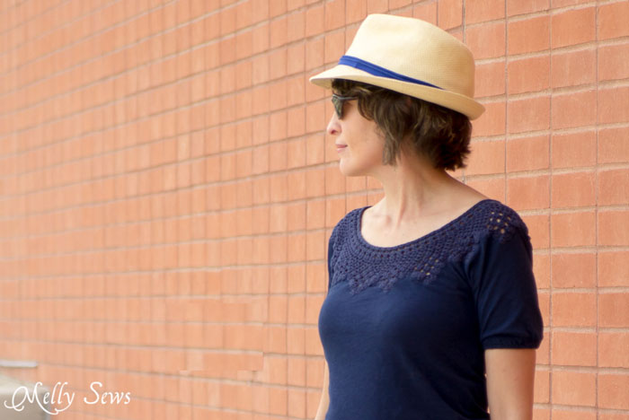Crocheted Yoke T-shirt - worn with a straw fedora and graphic print short - Melly Sews