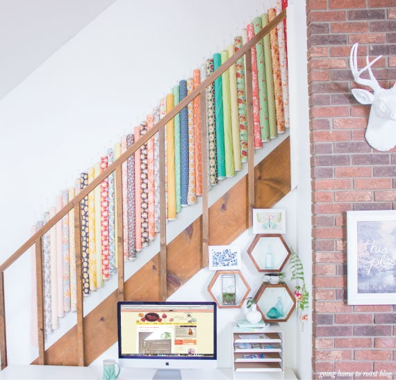 Roll Your Fabric to Store on the Wall - So pretty!