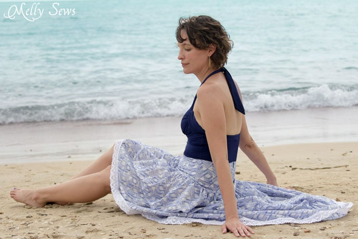 A long skirt and an empty beach - Boho Skirt Tutorial - Sew a Floaty Bohemian Skirt with this tutorial - Melly Sews
