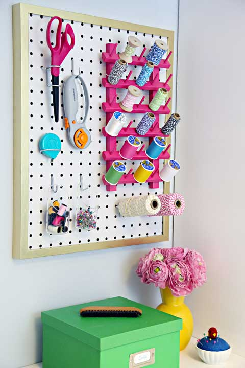 Framed pegboard - I Heart Organizing