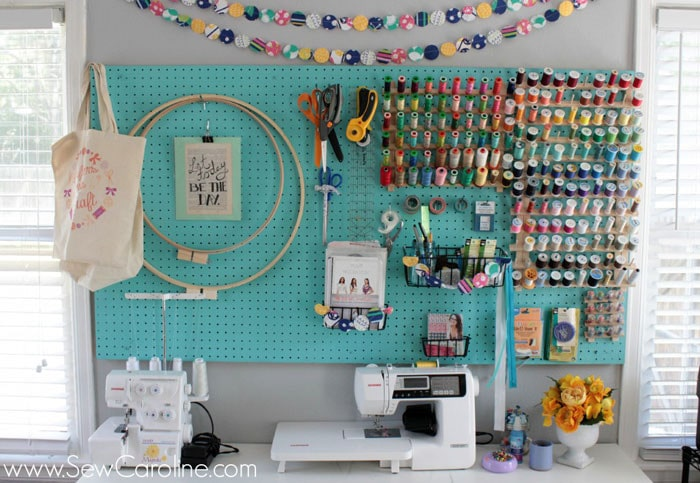 Sewing room pegboard - Sew Caroline