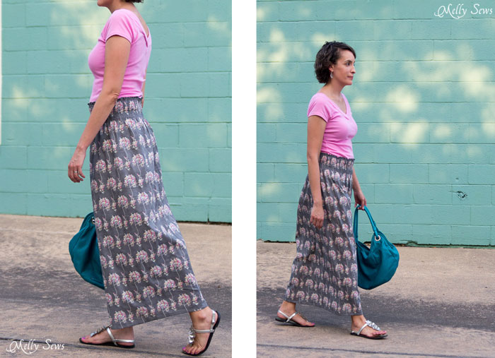 Cute, light and easy - just my style! Make a stretch waist skirt from woven fabric with elastic thread shirring - Melly Sews