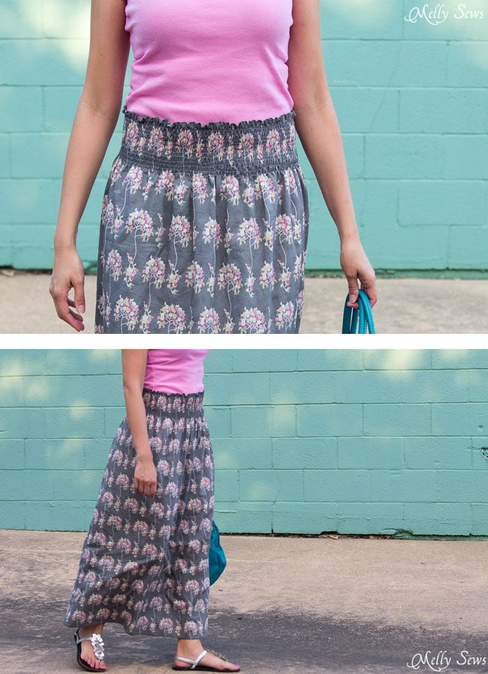 Close up of elastic waist - I think I could do this! Make a stretch waist skirt from woven fabric with elastic thread shirring - Melly Sews