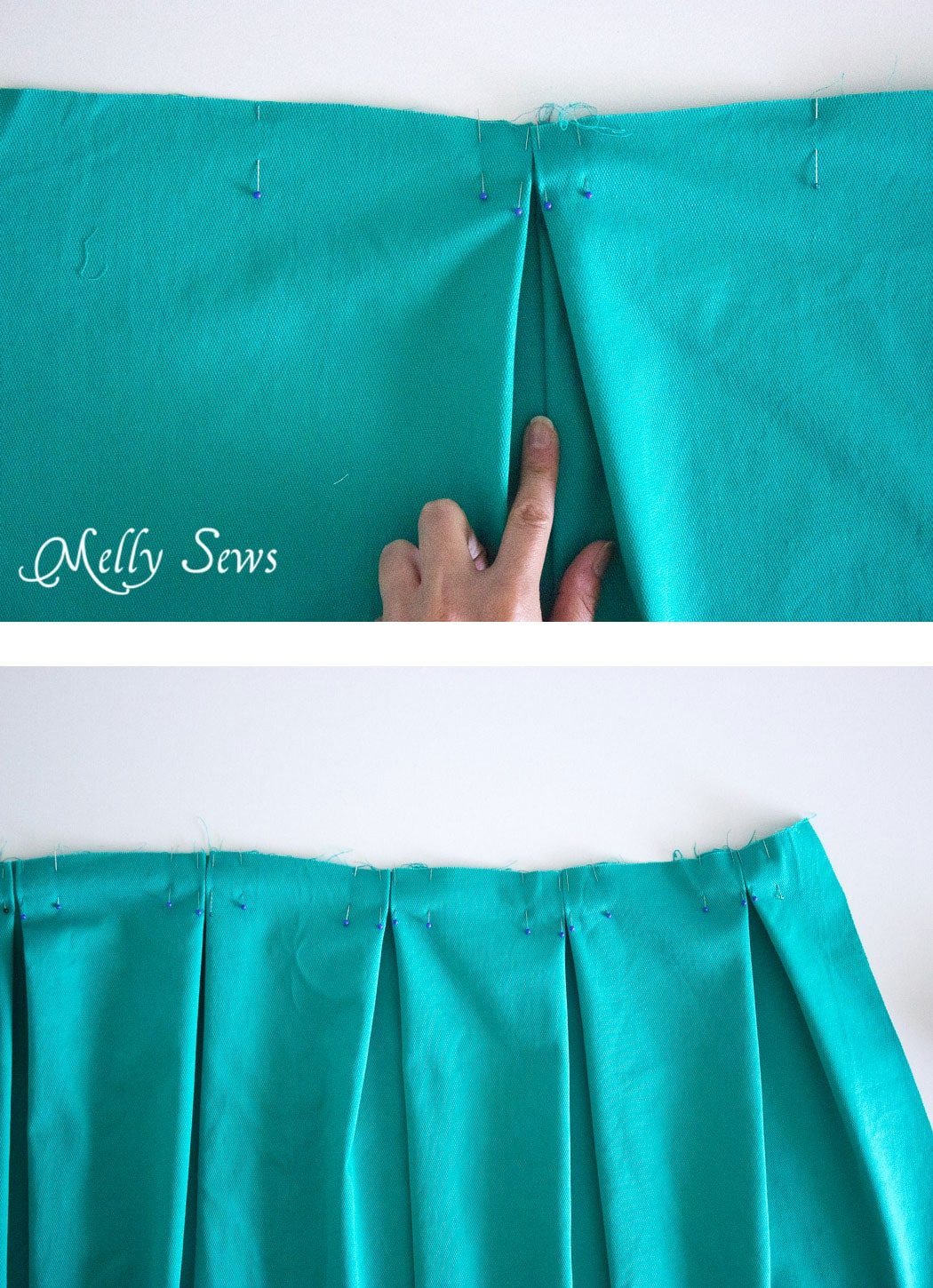 Step 3 - DIY Pleated Wrap Skirt - Sew a Pleated Mini Skirt with this easy tutorial - no buttons or zippers needed! - Melly Sews