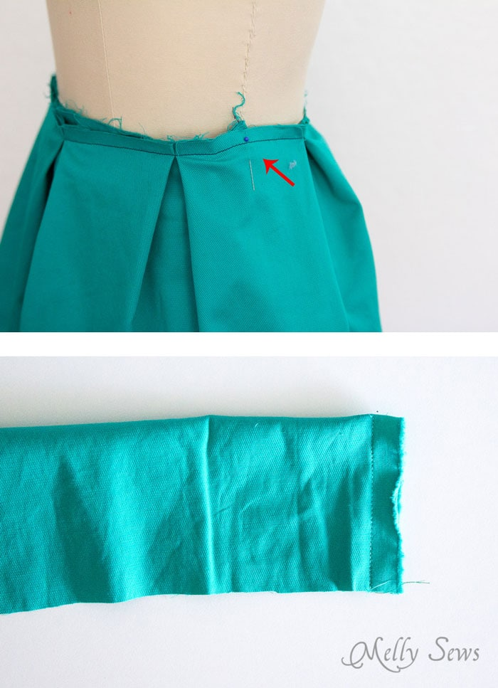 Step 5 - DIY Pleated Wrap Skirt - Sew a Pleated Mini Skirt with this easy tutorial - no buttons or zippers needed! - Melly Sews