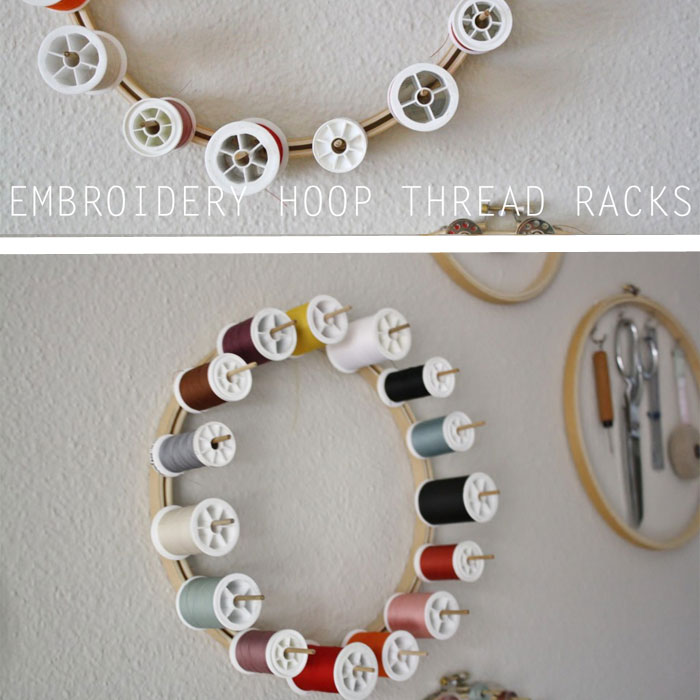Embroidery Hoop Thread Rack - Yellow Spool