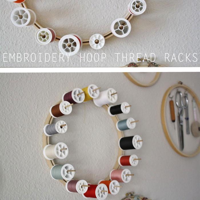 Embroidery Hoop Thread Rack - Yellow Spool