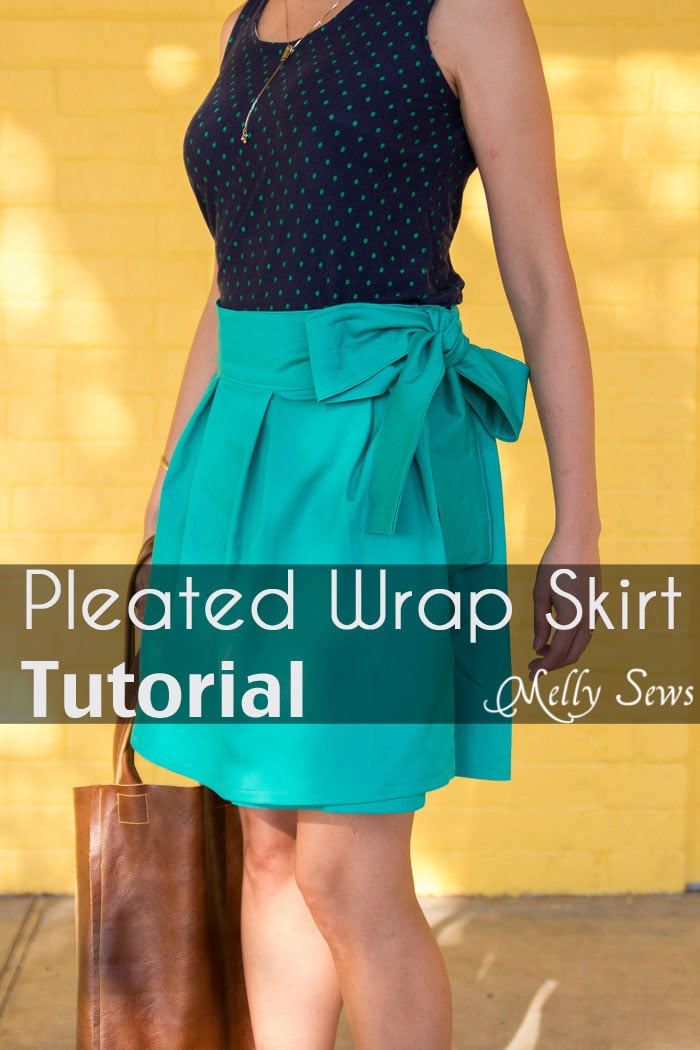 DIY Pleated Wrap Skirt - Sew a Pleated Mini Skirt with this easy tutorial - no buttons or zippers needed! - Melly Sews