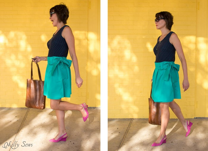 Fun look! DIY Pleated Wrap Skirt - Sew a Pleated Mini Skirt with this easy tutorial - no buttons or zippers needed! - Melly Sews
