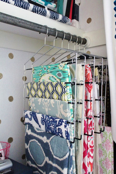 Use Pants Hangers to store fabric - I Heart Organizing