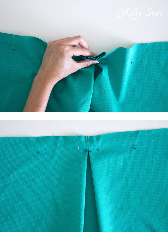 Step 2 - DIY Pleated Wrap Skirt - Sew a Pleated Mini Skirt with this easy tutorial - no buttons or zippers needed! - Melly Sews