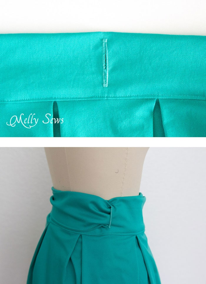 Step 9 - DIY Pleated Wrap Skirt - Sew a Pleated Mini Skirt with this easy tutorial - no buttons or zippers needed! - Melly Sews