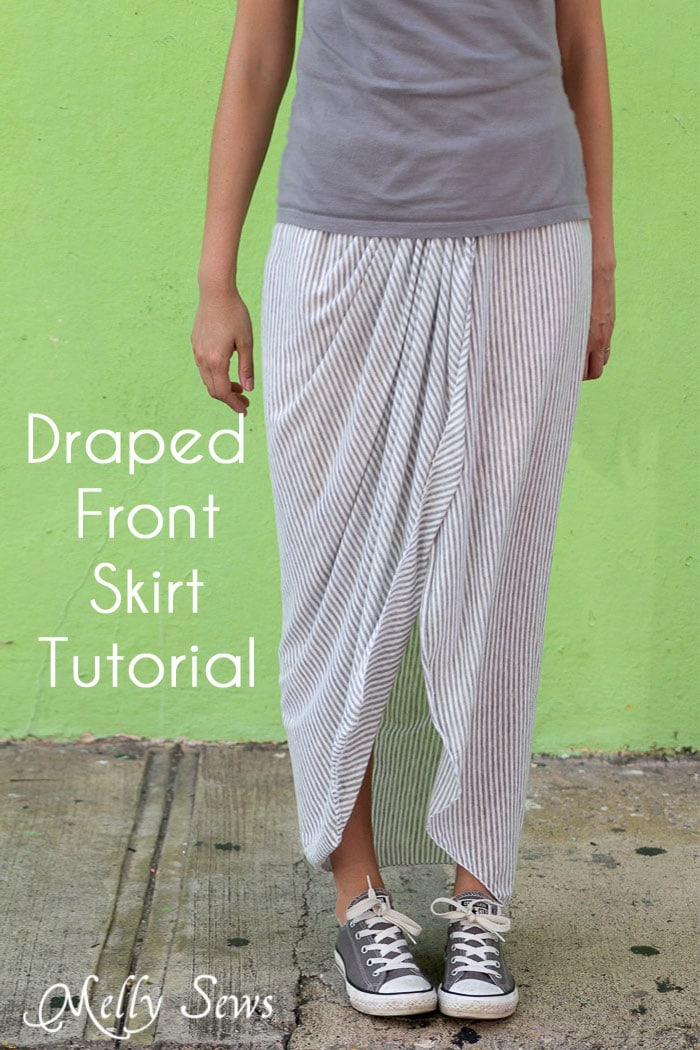 Draped Skirt Tutorial - make this wardrobe staple - it's actually easy! - Sewing tutorial from Melly Sews