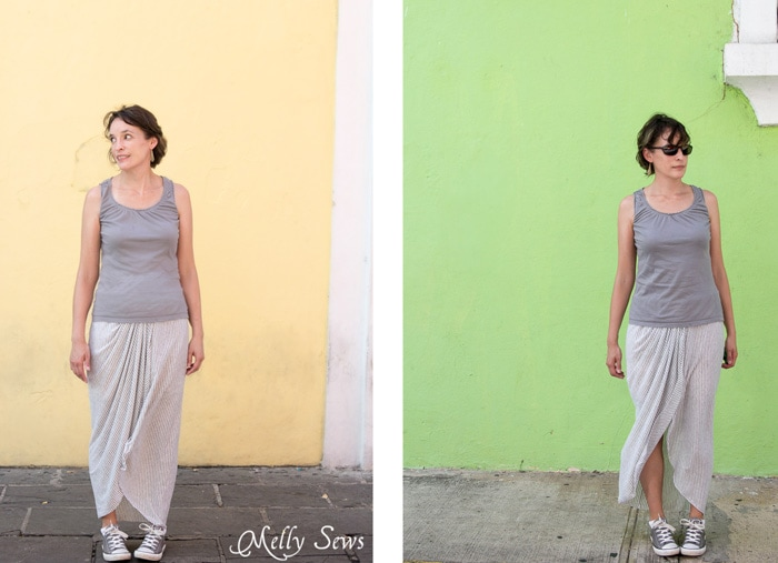 Cute and breezy summer skirt - Draped Skirt Tutorial - make this wardrobe staple - it's actually easy! - Sewing tutorial from Melly Sews