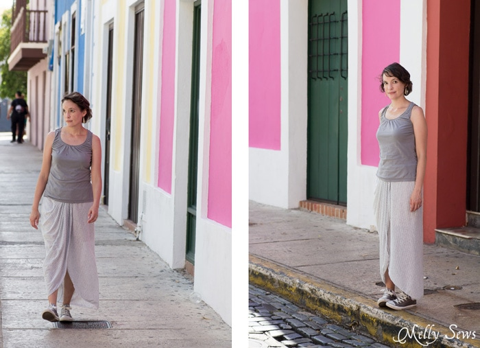 Brightly colored walls in Old San Juan, Puerto Rico - Draped Skirt Tutorial - make this wardrobe staple - it's actually easy! - Sewing tutorial from Melly Sews