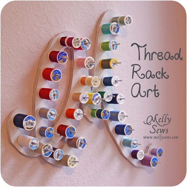 Make a custom thread rack - plywood, scroll saw and dowel rods - Melly Sews