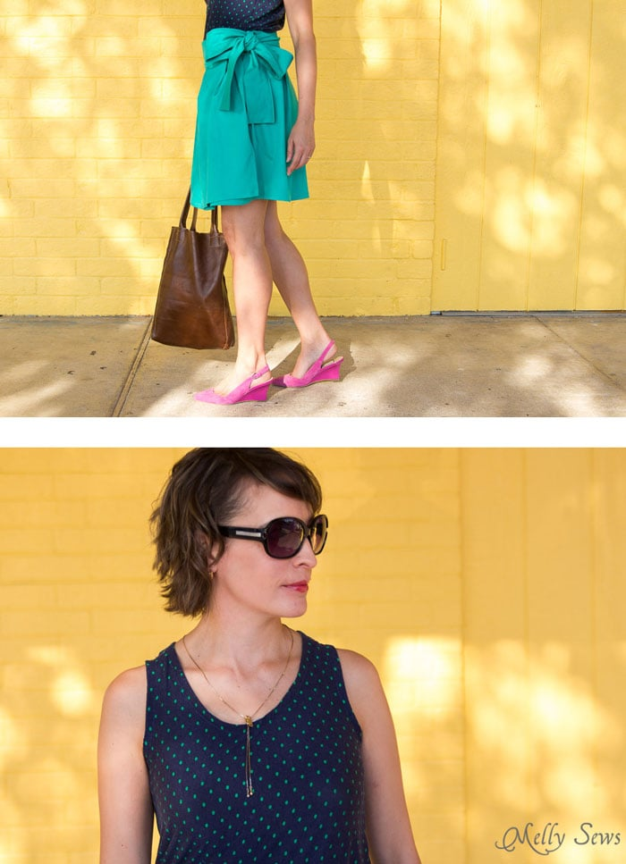 Tank top, sunglasses and pop of color with pink slingbacks - DIY Pleated Wrap Skirt - Sew a Pleated Mini Skirt with this easy tutorial - no buttons or zippers needed! - Melly Sews
