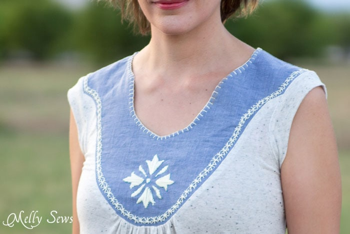 Adora Top sewn by Melly Sews - How to Hand Embroider - Embroidery Stitches to add to a handmade or store bought shirt - Women's DIY Fashion and sewing - Melly Sews