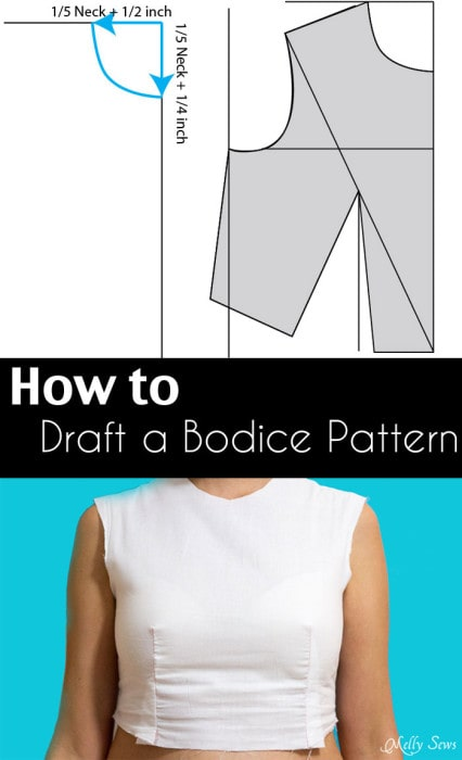 How to draft a bodice - Make a bodice pattern - bodice drafting - Melly Sews