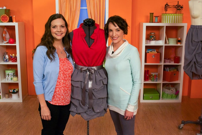 Melissa Mora and Ellen March on the set of Sew it All